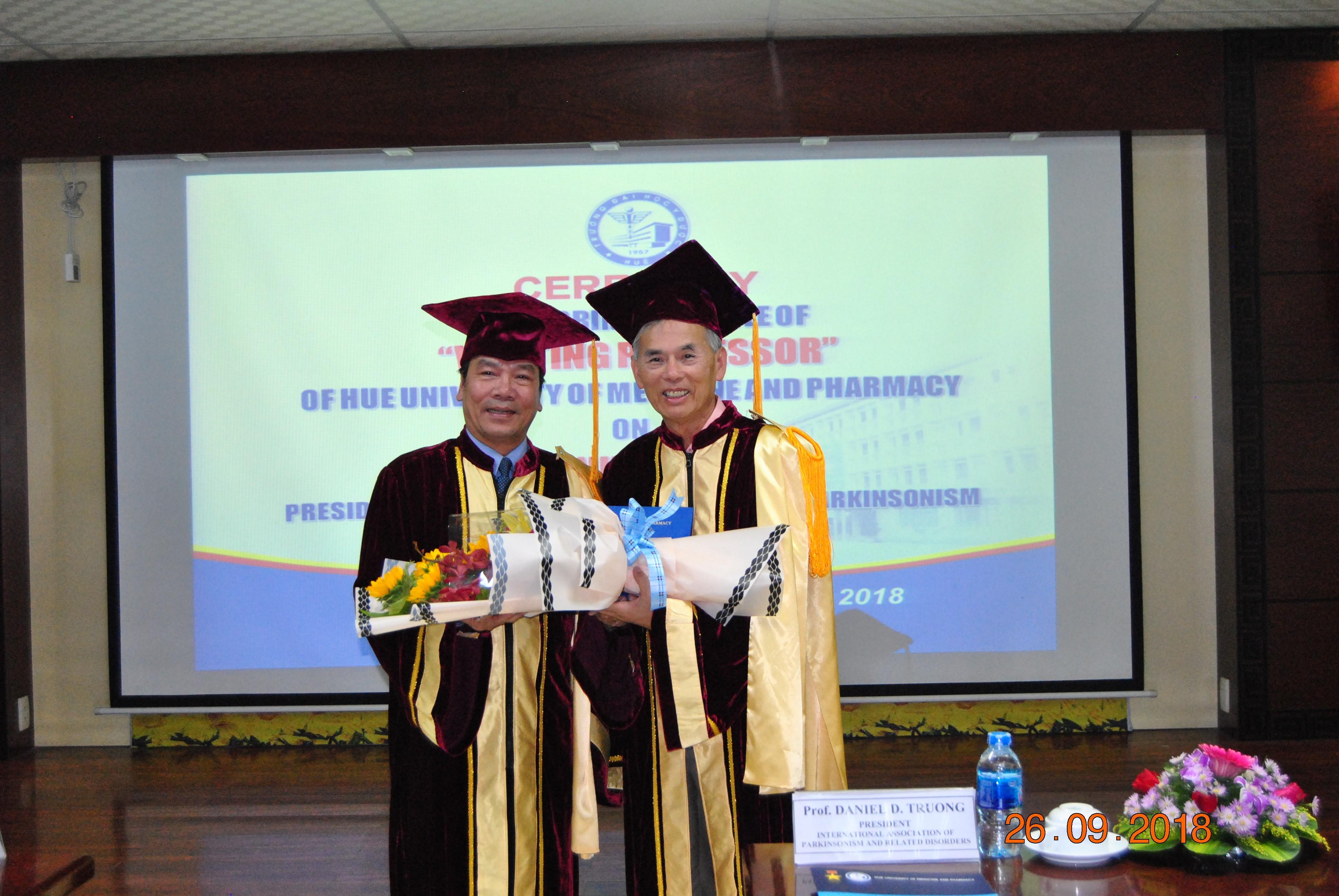 Trao tặng danh hiệu Giáo sư thỉnh giảng cho GS. Daniel Trương – Chủ tịch Hội Parkinson quốc tế và những bệnh liên quan