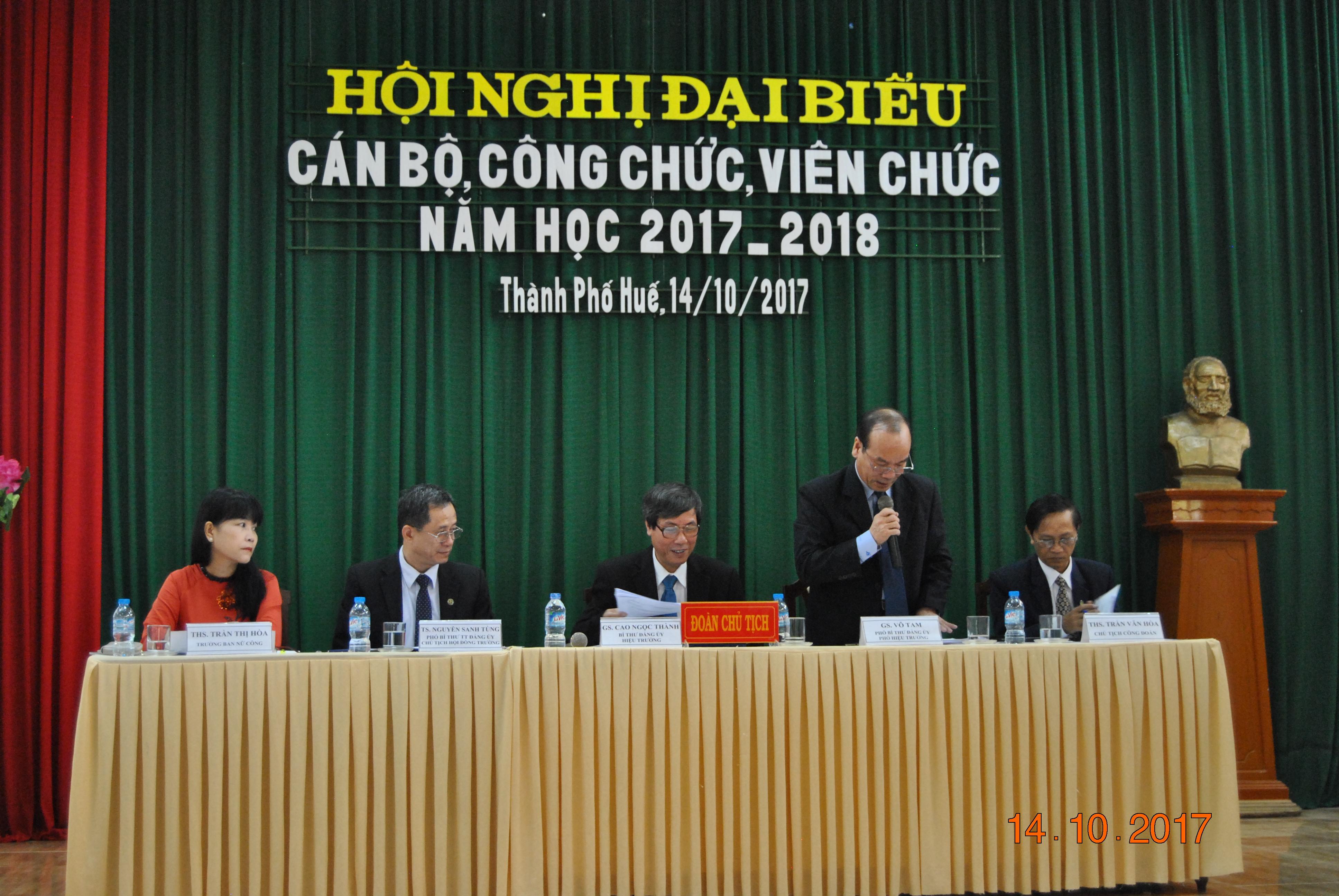 Hội nghị đại biểu Cán bộ, Công chức, Viên chức Trường Đại học Y Dược Huế năm học 2017-2018