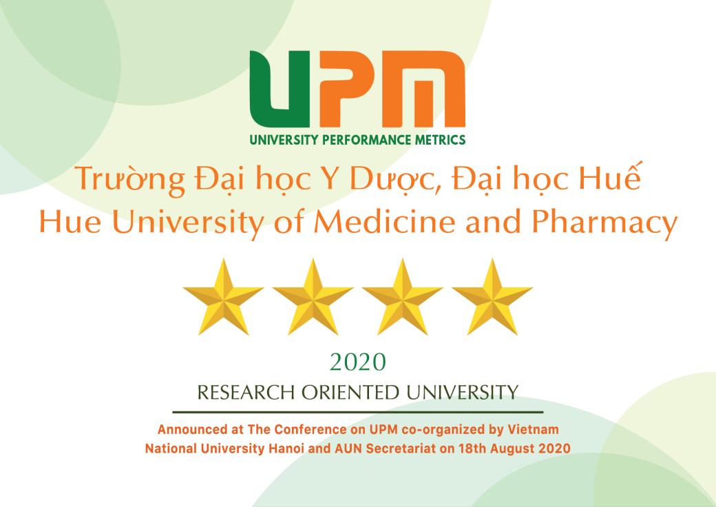 """Trường Đại học Y Dược Huế đạt tiêu chuẩn 4 sao trong bảng xếp hạng đại học """"University Performance Metrics"""" (UPM)"""