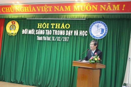 GS Cao Ngọc Thành  Bí thư  Đảng ủy, Hiệu trưởng phát biểu tại Hội thảo