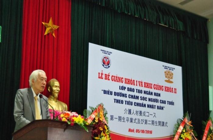 Ông Nakayama Tatsumi, CT Tập đoàn phúc lợi xã hội Aomori, Nhật Bản phát biểu tại buổi lễ