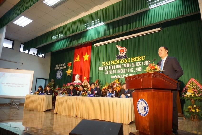 Bí thư Phan Hoàng Hải -  Bí thư Đoàn Đại học Huế phát biểu tại Đại hội Đoàn TNCS Trường Đại học Y Dược Huế lần thứ XIII