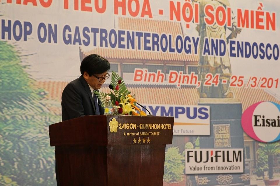 PGS.TS. Trần Văn Huy, Phó chủ tịch Hội Khoa học Tiêu hóa Việt Nam, Chủ tịch Chi hội Nội soi Tiêu hóa miền Trung phát biểu khai mạc